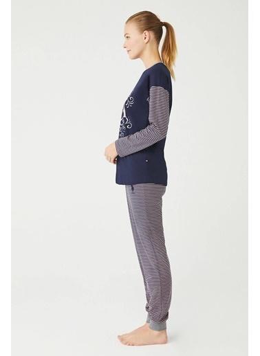 U.S. Polo Assn. Kadın Yuvarlak Yaka Pijama Takım Lacivert